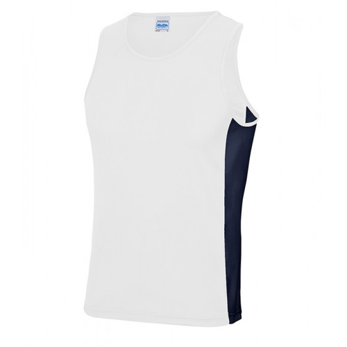 Just Cool Men Cool Contrast Vest Artic White/French Navy