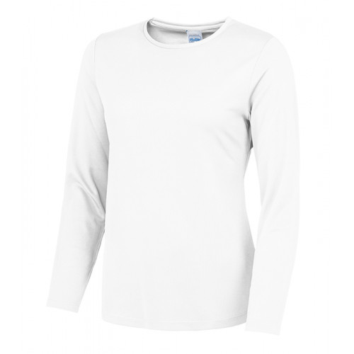 Just Cool Girlie Long Sleeve Cool T Artic White
