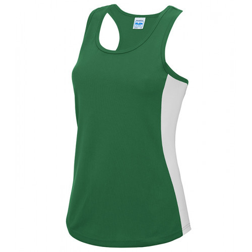Just Cool Girlie Cool Contrast Vest Kelly Green/Artic White