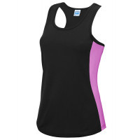 Just Cool Girlie Cool Contrast Vest Jet Black/Electric Pink