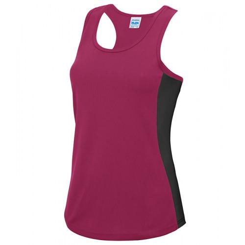 Just Cool Girlie Cool Contrast Vest Hot Pink/Jet Black