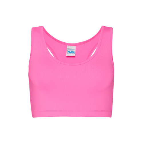 Just Cool Girlie Sports Crop Top Electric Pink