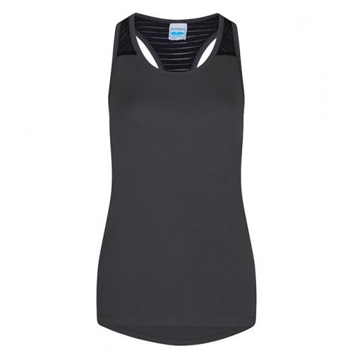 Just Cool Girlie Cool Smooth Workout Vest Charcoal/Jet Black