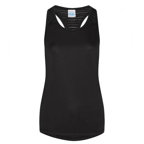 Just Cool Girlie Cool Smooth Workout Vest Jet Black/Jet Black