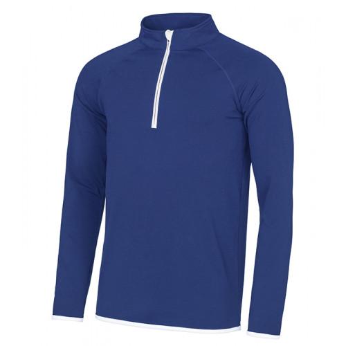 Just Cool Men's Cool 1/2 Zip Sweat Royal Blue/Artic White