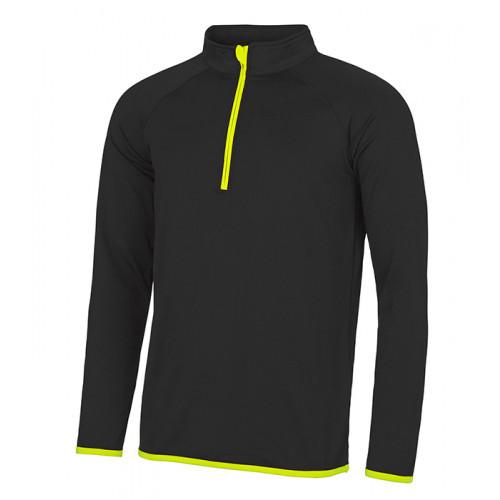 Just Cool Men's Cool 1/2 Zip Sweat Jet Black/Electric Yellow