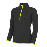 Just Cool Girlie Cool 1/2 Zip Sweat Jet Black/Electric Yellow