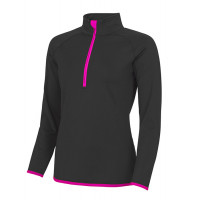 Just Cool Girlie Cool 1/2 Zip Sweat Jet Black/Electric Pink