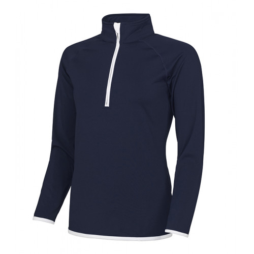 Just Cool Girlie Cool 1/2 Zip Sweat French Navy/Arctic White