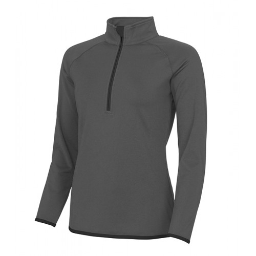 Just Cool Girlie Cool 1/2 Zip Sweat Charcoal/Jet Black
