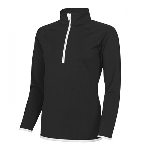 Just Cool Girlie Cool 1/2 Zip Sweat Jet Black/Artic White