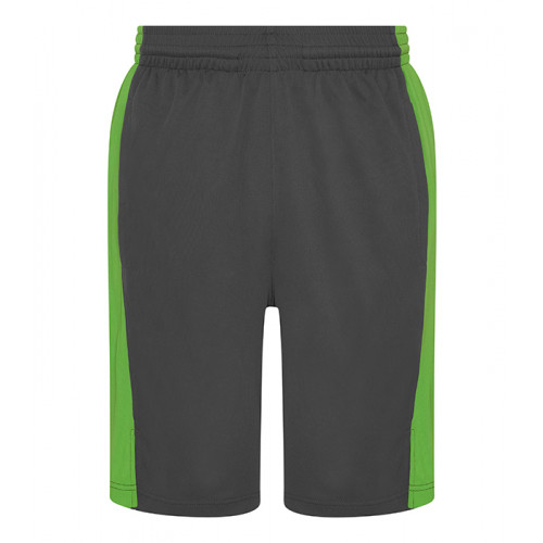 Just Cool Cool Panel Shorts Charcoal/Lime Green