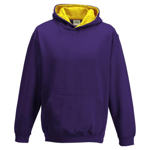 Just Hood Kids Varsity Hoodie Purple/Sun Yellow