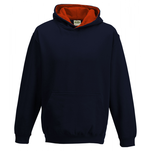 Just Hood Kids Varsity Hoodie French Navy/Fire Red