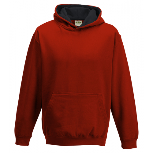 Just Hood Kids Varsity Hoodie Fire Red/Jet Black