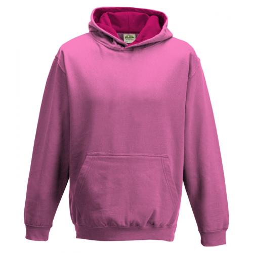Just Hood Kids Varsity Hoodie Candyfloss Pink/Hot Pink