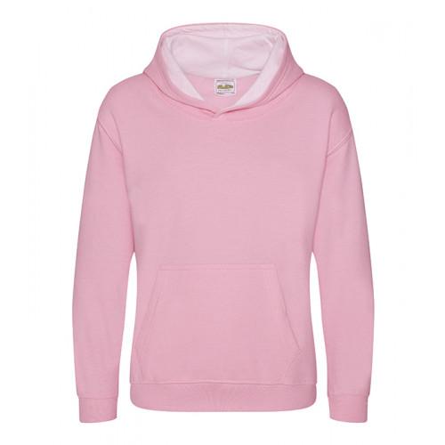 Just Hood Kids Varsity Hoodie Baby Pink/Arctic White