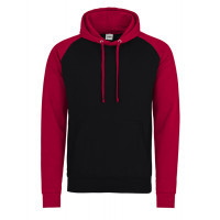 Just hoods Baseball Hoodie Jet Black/Fire Red