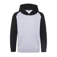 AWD Just Hood Kids Baseball Hoodie Heather Grey/Jet Black