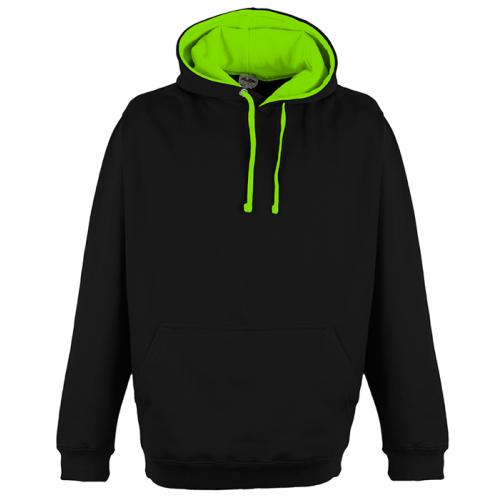 Just Hoods Superbright Hoodie Jet Black/El. Green