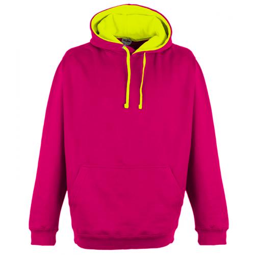 Just Hood Superbright Hoodie Hot Pink/El. Yellow