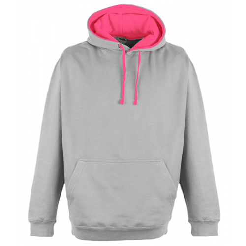 Just Hood Superbright Hoodie Heather Grey/El. Pink