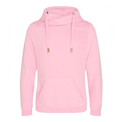 Just Hoods Cross Neck Hoodie Baby Pink