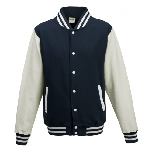 AWD Just Hood Varsity Jacket Oxford Navy/White