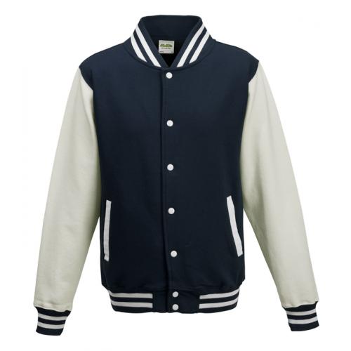 AWD Just Hood Varsity Jacket Oxford Navy/White