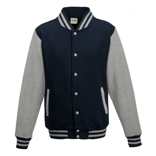 AWD Just Hood Varsity Jacket Oxford Navy/Heather Grey