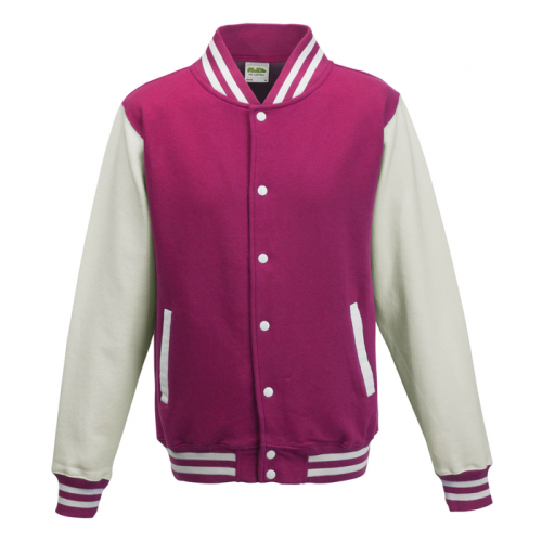 AWD Just Hood Varsity Jacket Hot Pink/White