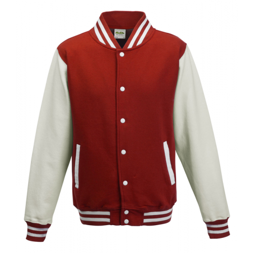 AWD Just Hood Varsity Jacket Fire Red/Arctic White
