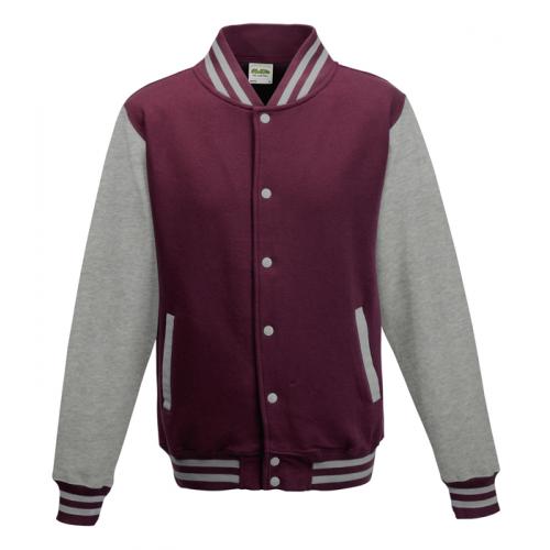 AWD Just Hood Varsity Jacket Burgundy/Heather Grey