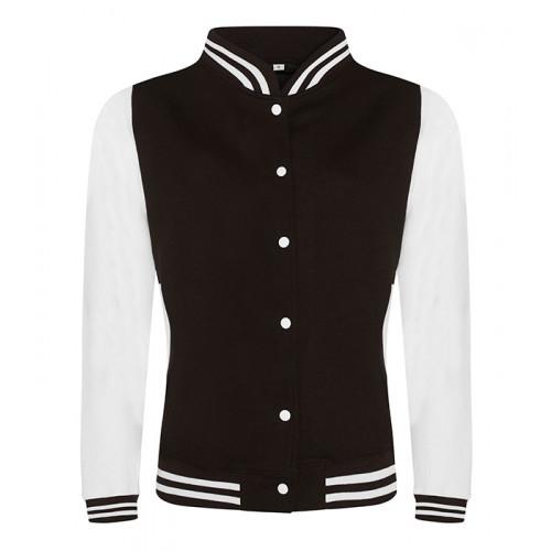 Just hoods Girlie Varsity Jacket Jet Black/White
