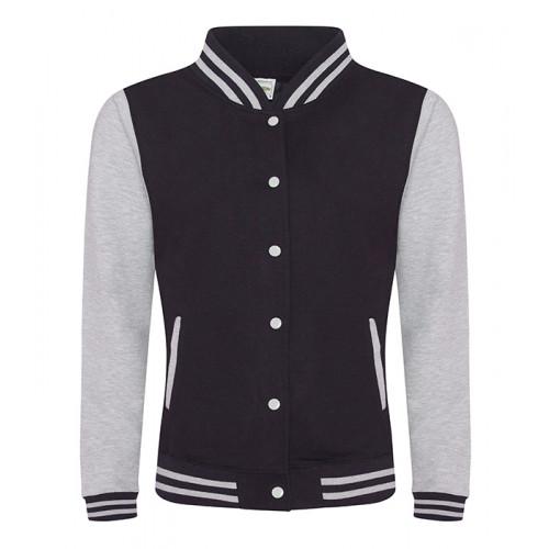 Just hoods Girlie Varsity Jacket Jet Black/Heather Grey