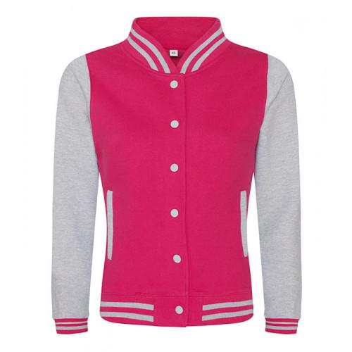 Just hoods Girlie Varsity Jacket Hot Pink/Heather Grey