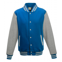 Just hoods Kids Varsity Jacket Sapphire Blue/Heather Grey