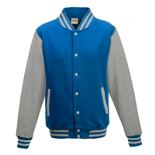 Just hoods Kids Varsity Jacket Sapphire Blue/Heather Grey