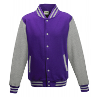 Just hoods Kids Varsity Jacket Purple/Heather Grey