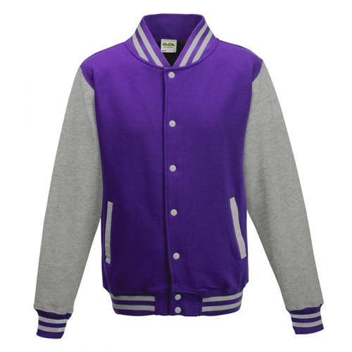 Just hoods Kids Varsity Jacket Purple/Heather Grey