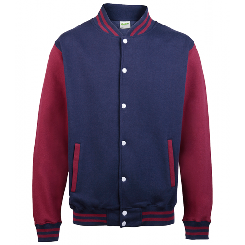 Just hoods Kids Varsity Jacket Oxford Navy/Burgundy