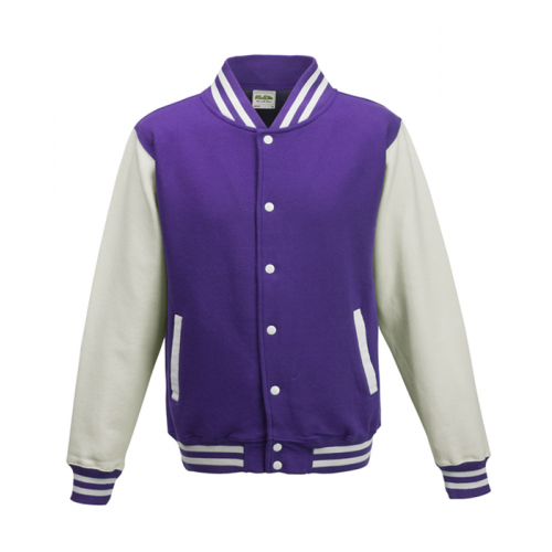 Just hoods Kids Varsity Jacket Purple/White