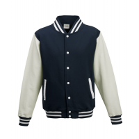 Just hoods Kids Varsity Jacket Oxford Navy/White
