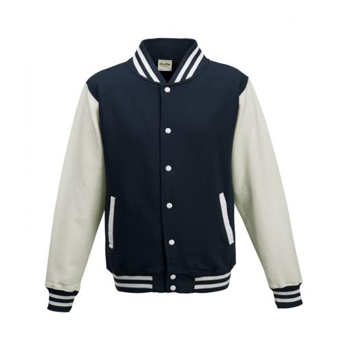 Just hoods Kids Varsity Jacket Oxford Navy/White