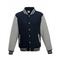 Just hoods Kids Varsity Jacket Oxford Navy/Heather Grey