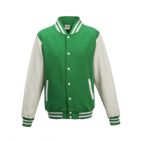 Just hoods Kids Varsity Jacket Kelly Green/White