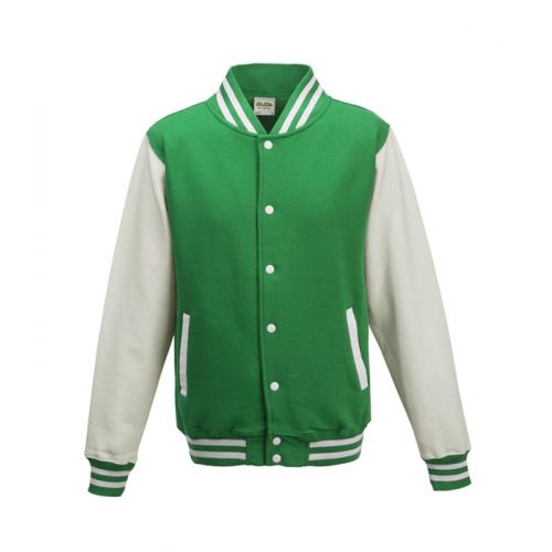 Just hoods Kids Varsity Jacket Kelly Green/White