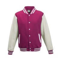 Just hoods Kids Varsity Jacket Hot Pink/White