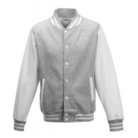 Just hoods Kids Varsity Jacket Heather Grey/White