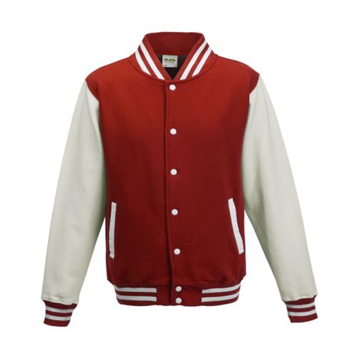 Just hoods Kids Varsity Jacket Red/White